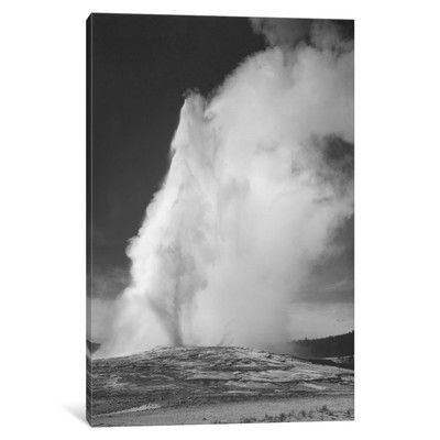 Loon Peak Old Faithful Geyser, Yellowstone National Park by Ansel Adams Photographic Print on Wrapped Canvas Size:
