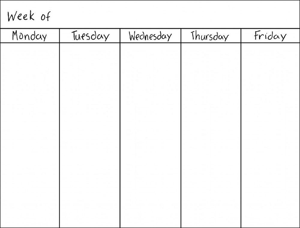 Monday Thru Friday Printable Calendar   Blank weekly ...