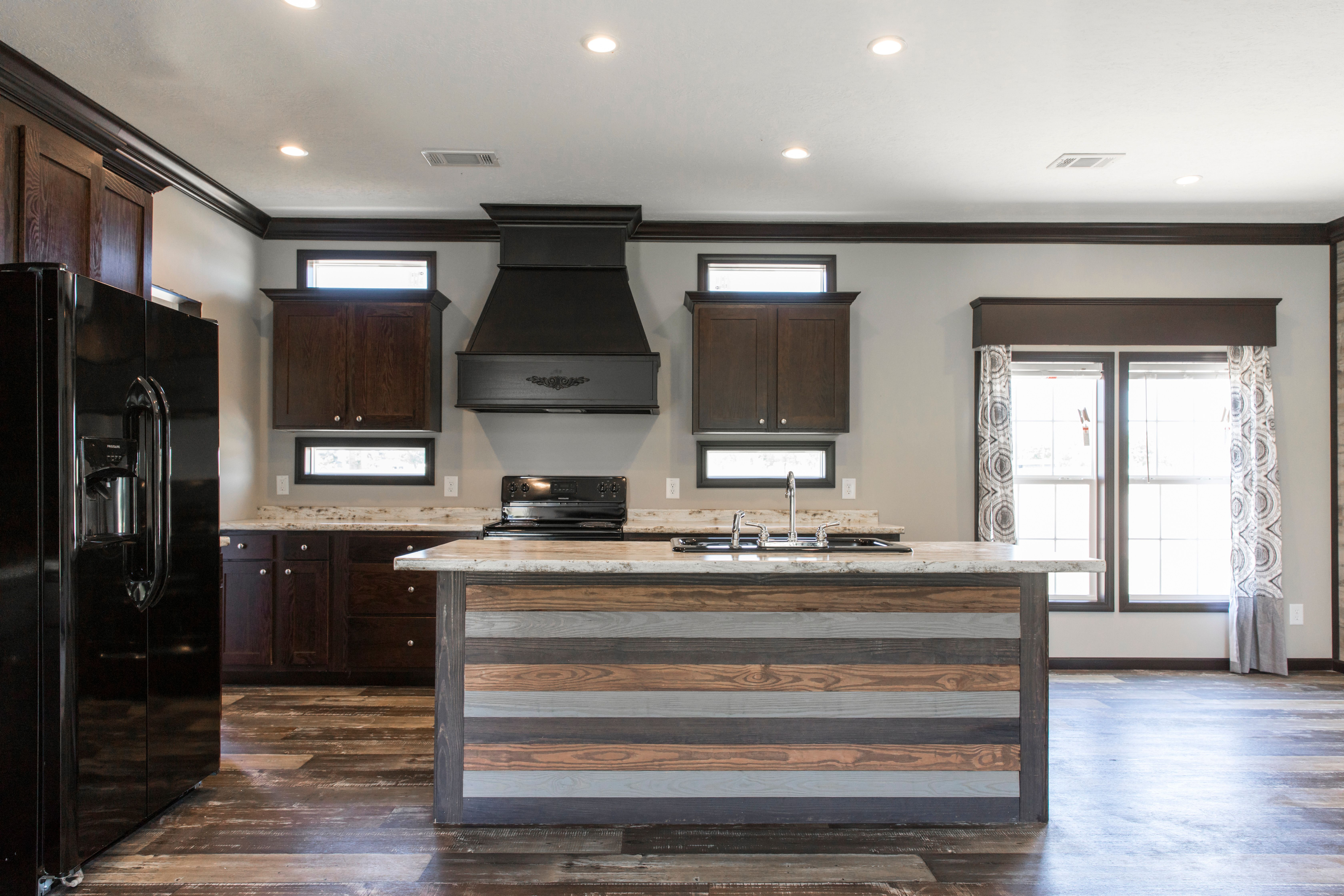 Farmhouse mobile home kitchen with shiplap island   Manufactured ...
