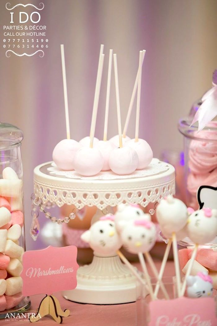 Cake pops from a Ruffled Hello Kitty Birthday Party on Karas Party