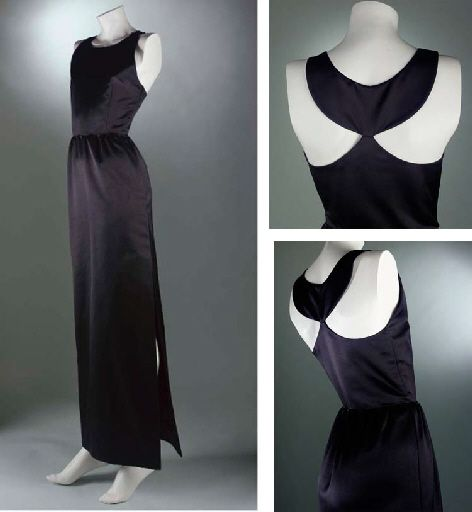 An evening gown of black Italian satin designed by Hubert de Givenchy. Here is one of the original Givenchy dresses created for Audrey Hepburn in Breakfast at Tiffany's (Auctioned at Christie's in 2006).  The actual dresses used in the movie, created by Edith Head, were destroyed by Head and Hepburn at Western Costume in California after shooting. And the dress has its own Wikipedia page!