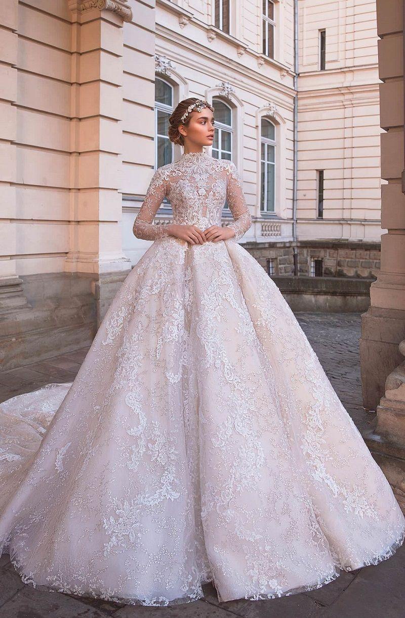 Long Sleeves High Neck Ball Gown Wedding Dress Wedding