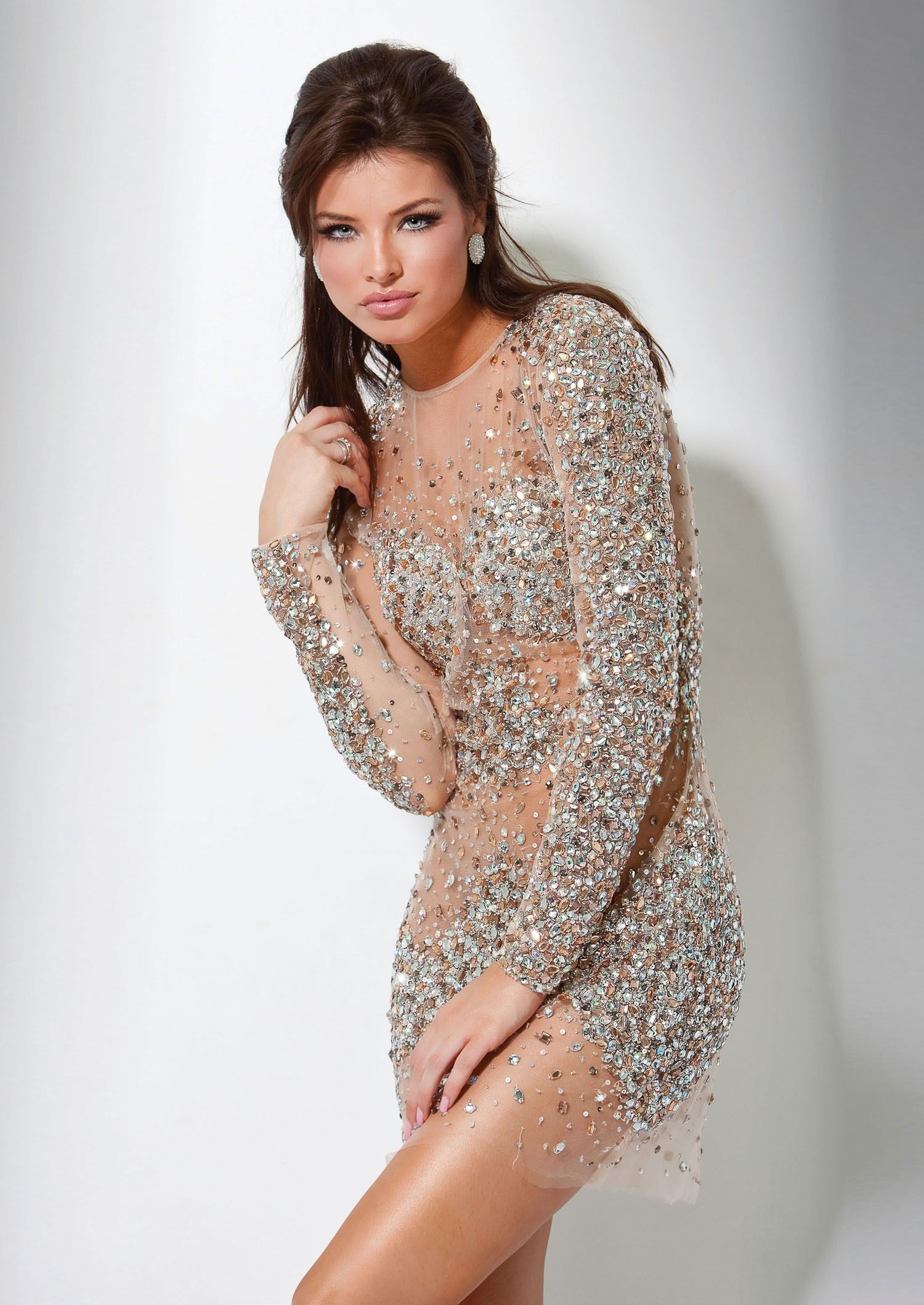 Jovani 7757 Sassy Cocktail Dress | Sleeved dress, Sequin evening ...