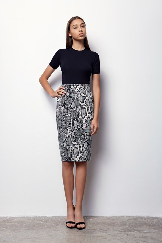e83c4a4aaa MOTHERS DAY GIFT, Midi Skirt, Pencil Skirt, Bodycon Skirt, High Waisted  Skirt, Snake Print Skirt, Pr