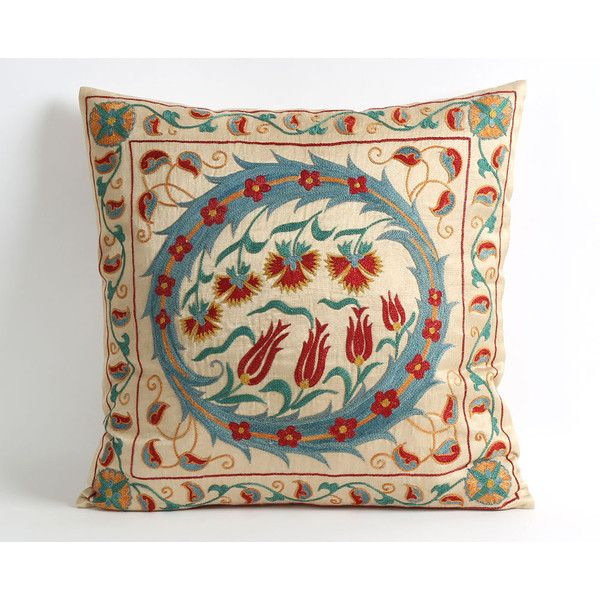 Silk Suzani Pillow Cover 18x18 Blue Red Floral Embroidery Silk ... 3fe7b88bf6
