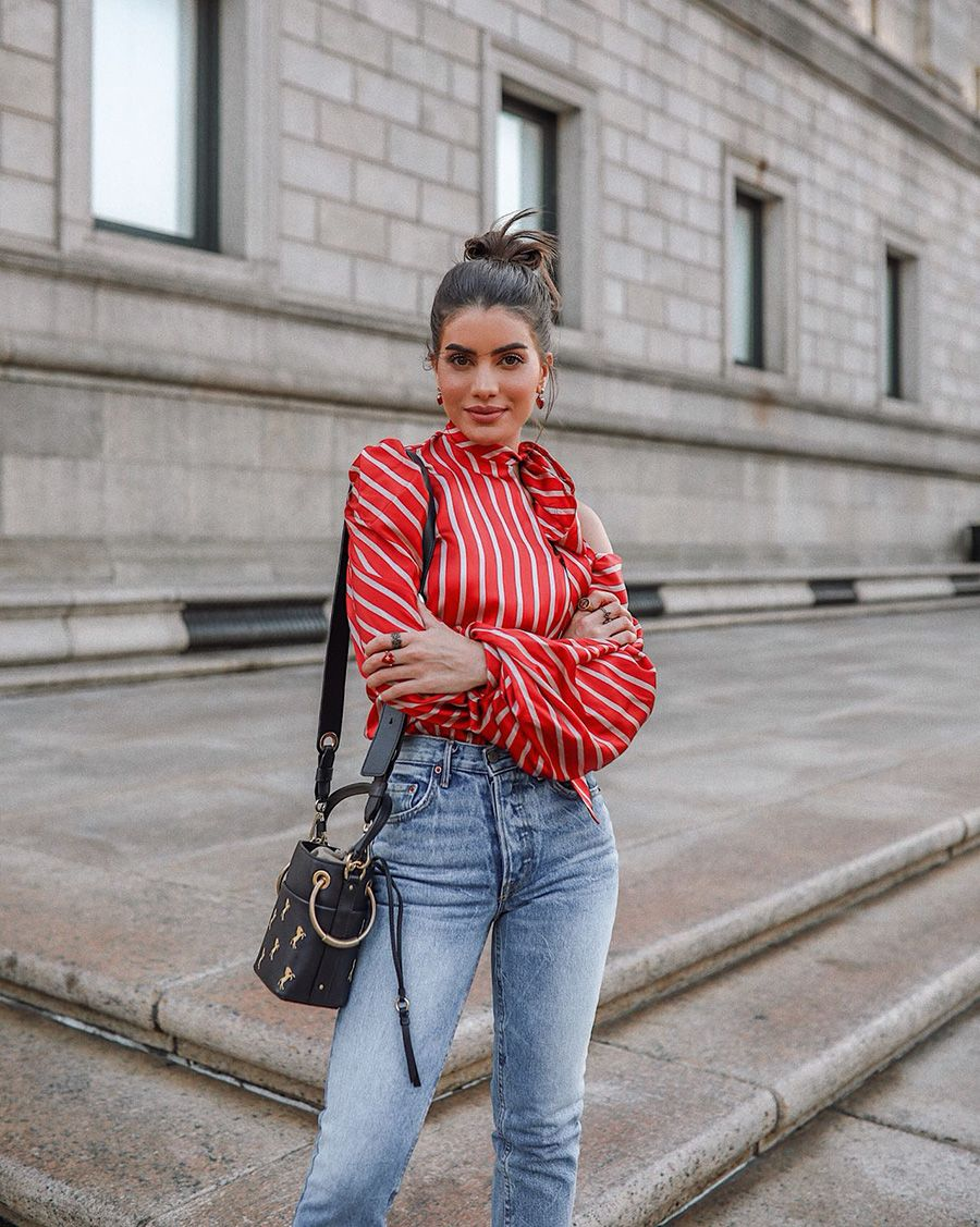 how to wear a silk blouse with jeans