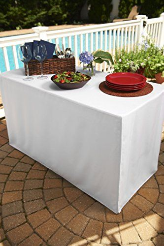 White Folding Table Tablecloth Heavy Fabric Split Corners To The