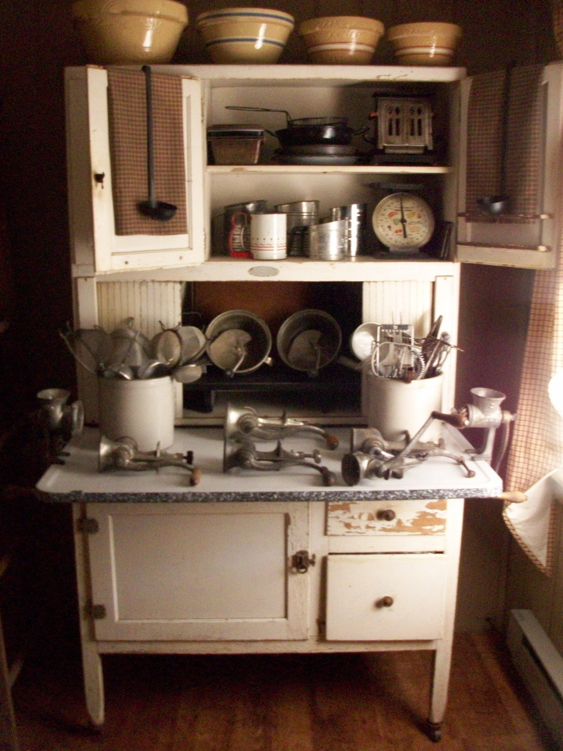 Hoosier Cabinet With Great Collection Of Yellow Ware And