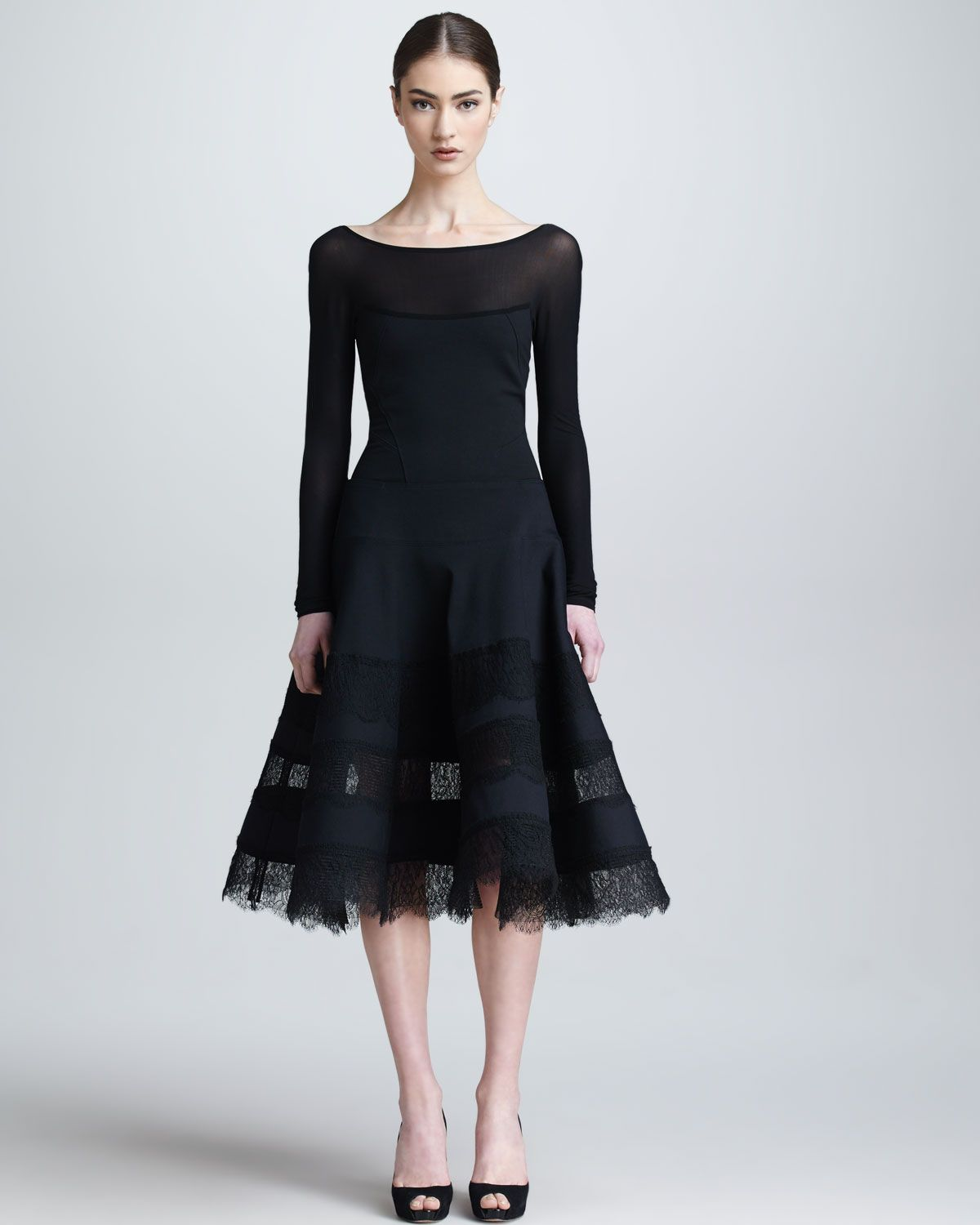 Donna karan lace jersey long sleeve dress black for Donna karan wedding dresses