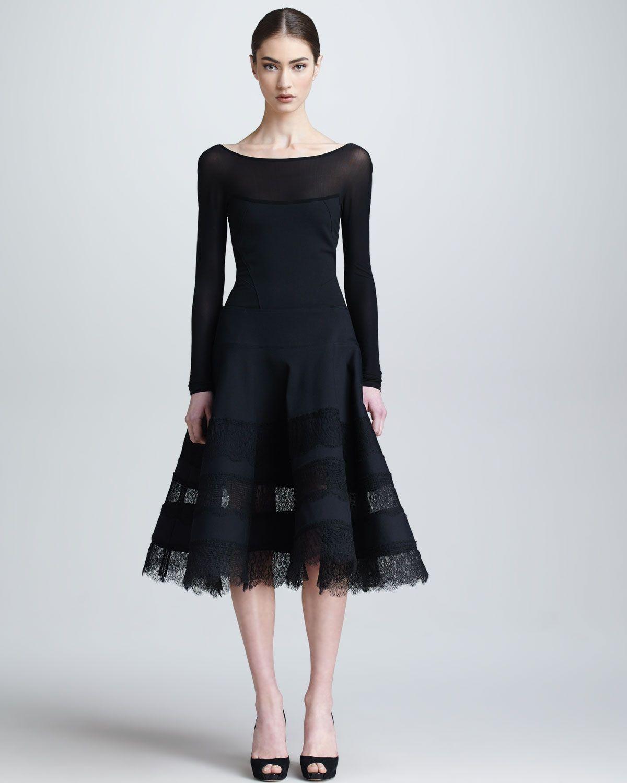 Donna Karan Lace & Jersey Long-Sleeve Dress, Black - Neiman Marcus ...