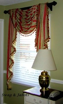 Striped Fabric Pole Swag Curtains Living Room Living Room Decor