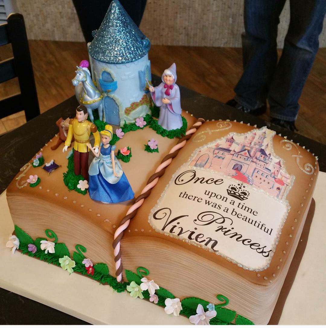 Little Girls 3rd Birthday Cake Cinderella Story Book For My