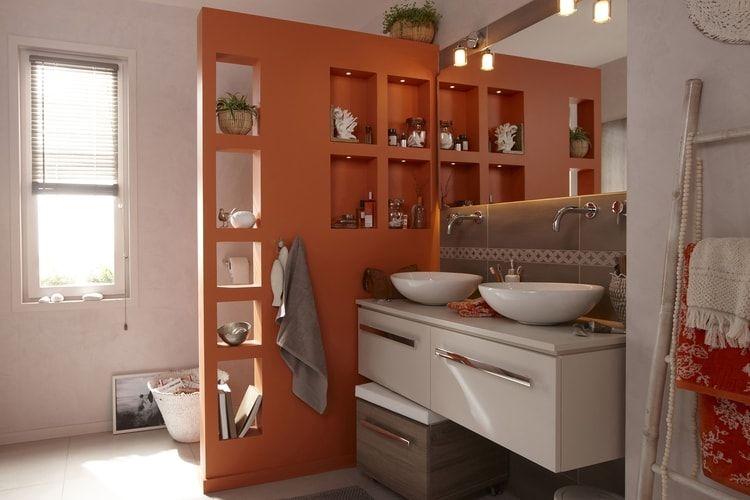 Une séparation colorée dans la salle de bains Salle de bains
