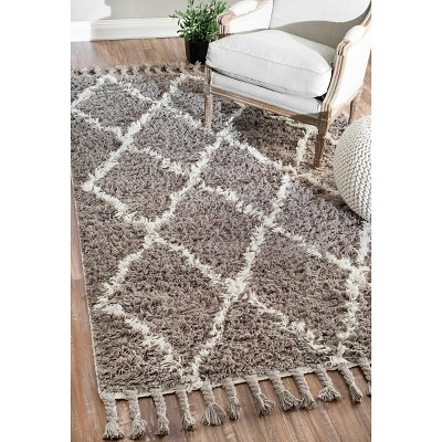 Nuloom Wool Fez Shag Accent Rug Gray 2 7 X8 2 Size 2 8 X 8 Runner Shag Rug Area Rugs Rugs