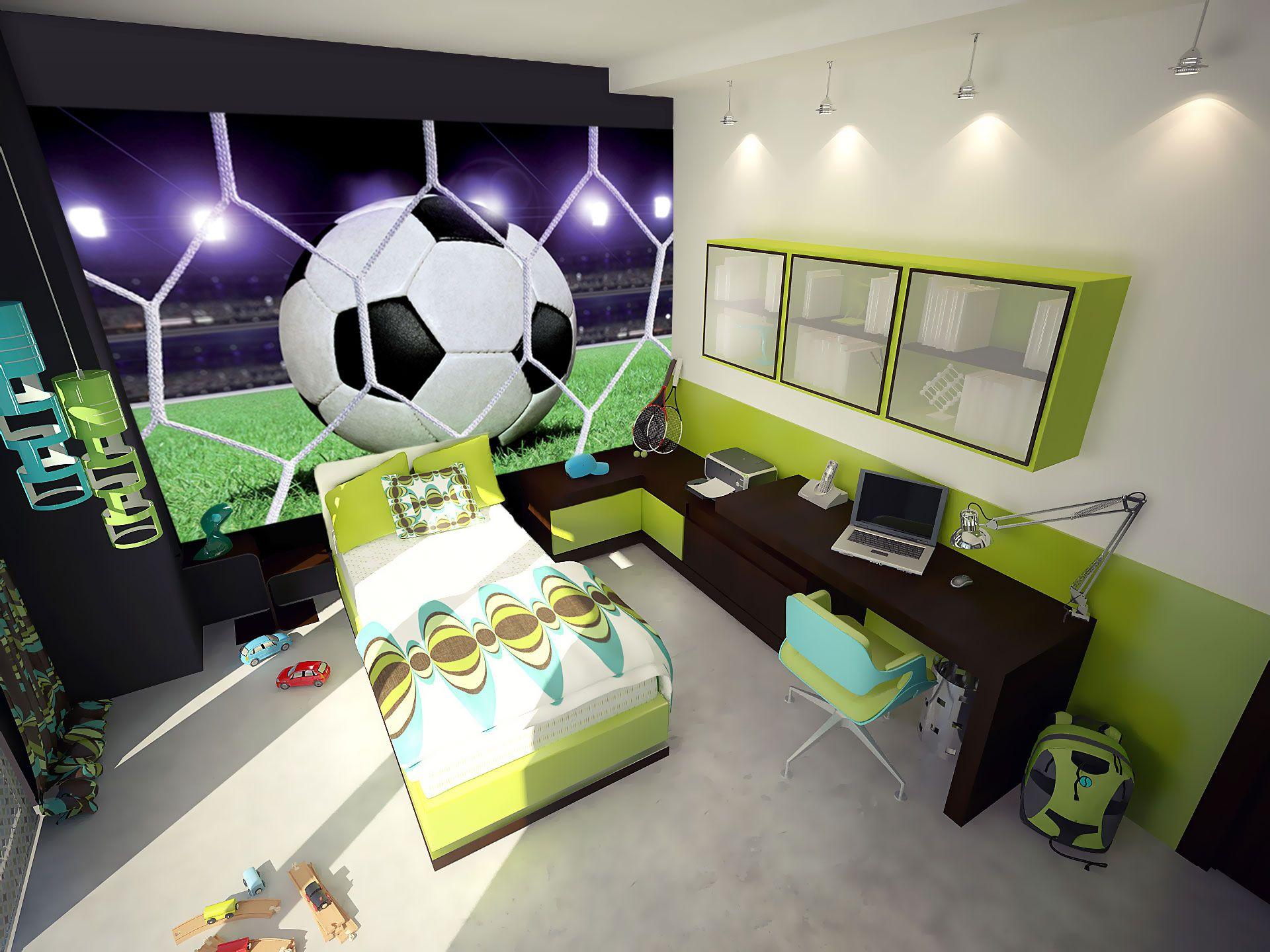 chambre sport soccer mon int rieur pinterest sports chambres et chambre garcon. Black Bedroom Furniture Sets. Home Design Ideas