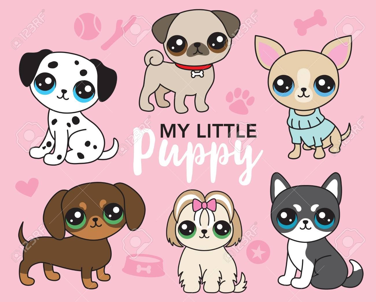 Vector Illustration Of Cute Puppy Dog Including Pug Chihuahua