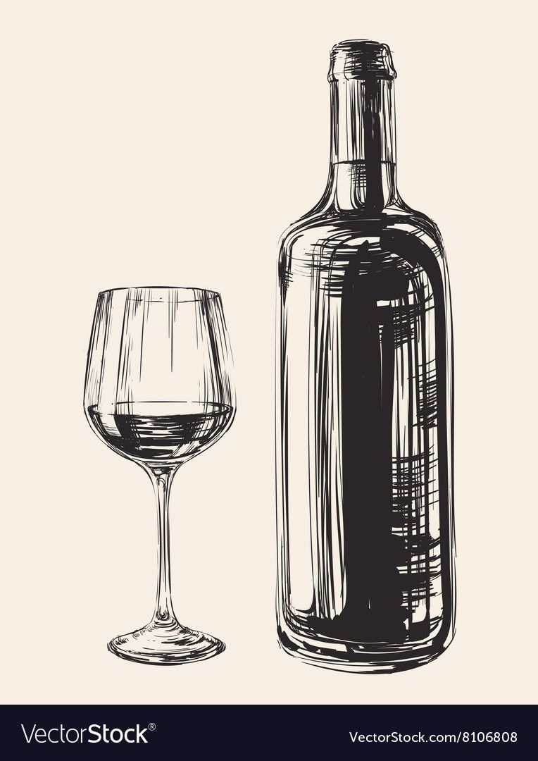 Hand Drawn Wine Glass And Bottle Royalty Free Vector Image Affiliate Wine Glass Hand Drawn Ad Bottle Drawing Wine Bottle Drawing Glasses Sketch