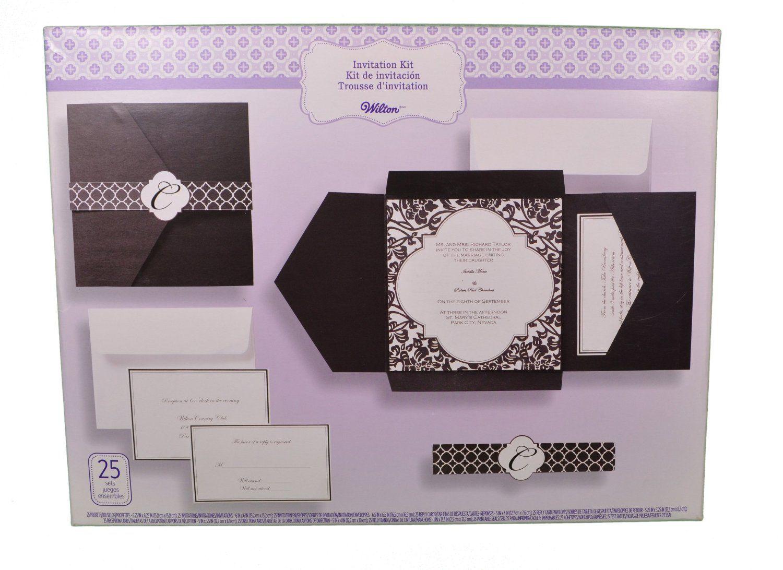 amazoncom set of 25 wilton wedding black and white vintage pocket invitation kit - Wilton Wedding Invitation Kits