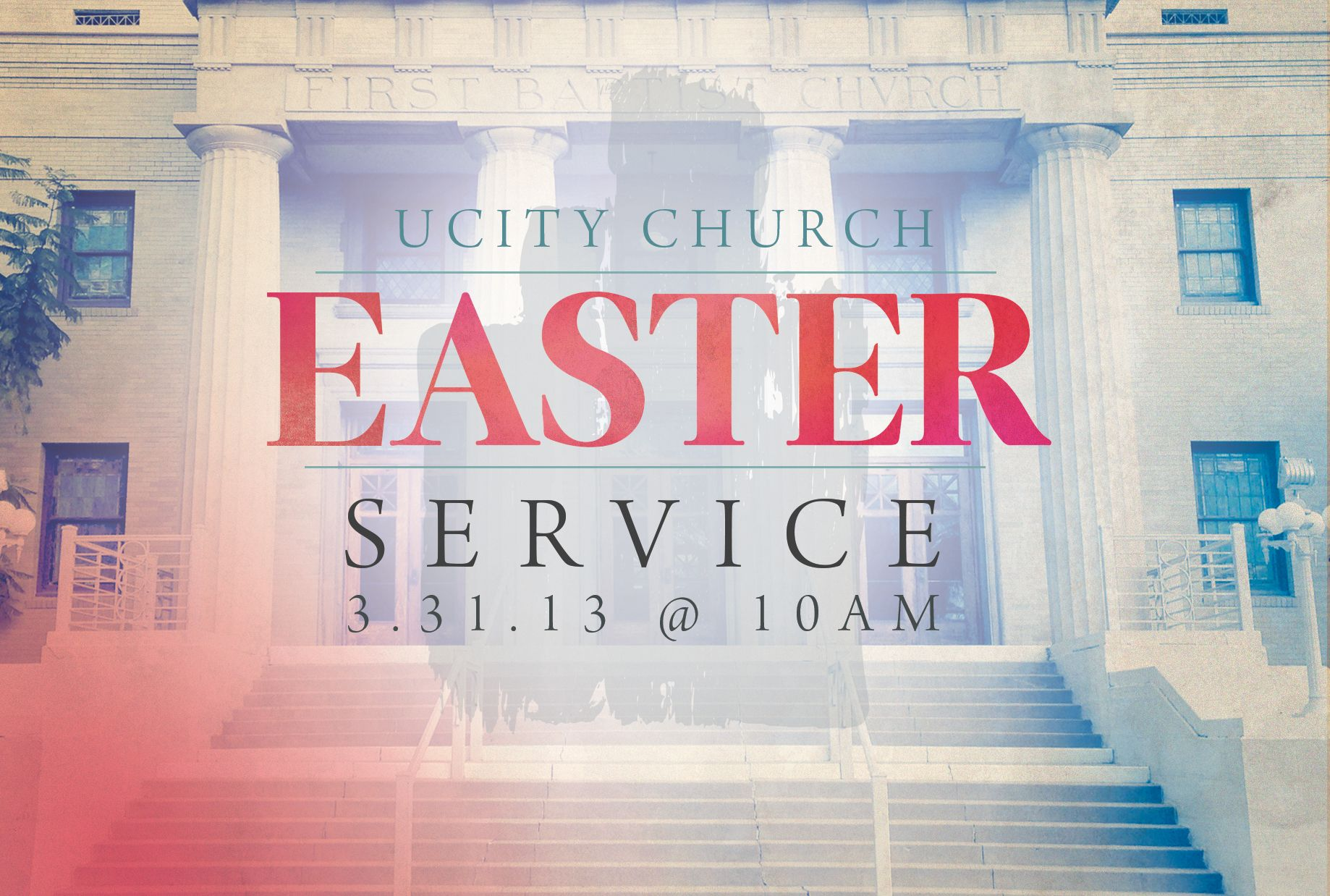 My design for Easter this year at UCity utilizing mostly our building as inspiration...