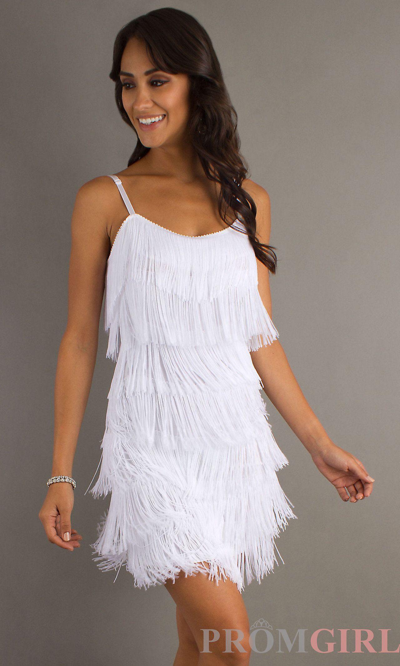 Short White Fringe Dress For Rehearsal Dinner Or Engagement Party