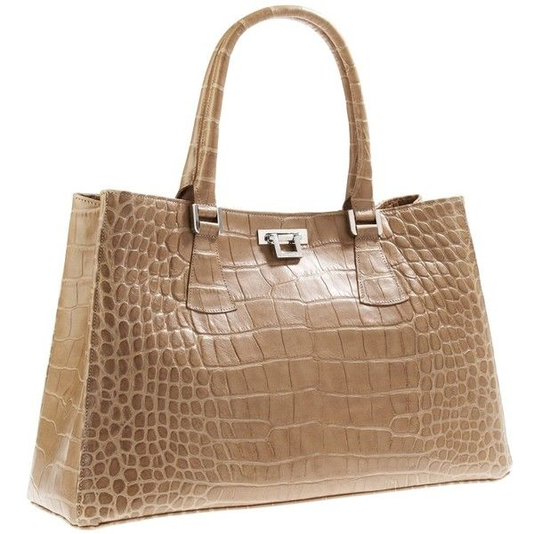 Unützer Beige Croco Bag ($1,055) ❤ liked on Polyvore featuring bags, handbags, purses, bolsas, croc purse, man bag, brown purse, croc embossed handbags and brown crocodile handbag