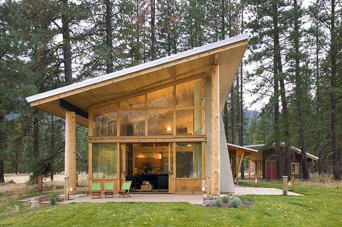 Asymmetrical Log Housing Small Wooden House House Architecture Design Wood House Design House designs small wooden
