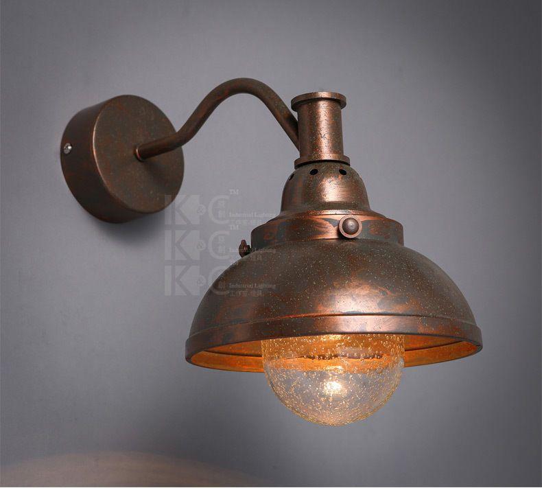 Vintage Antiqued Aged Steel Gooseneck Sconce Barn Wall Lamp Restoration Light Restoration Lighting Wall Lamp Glass Wall Lights