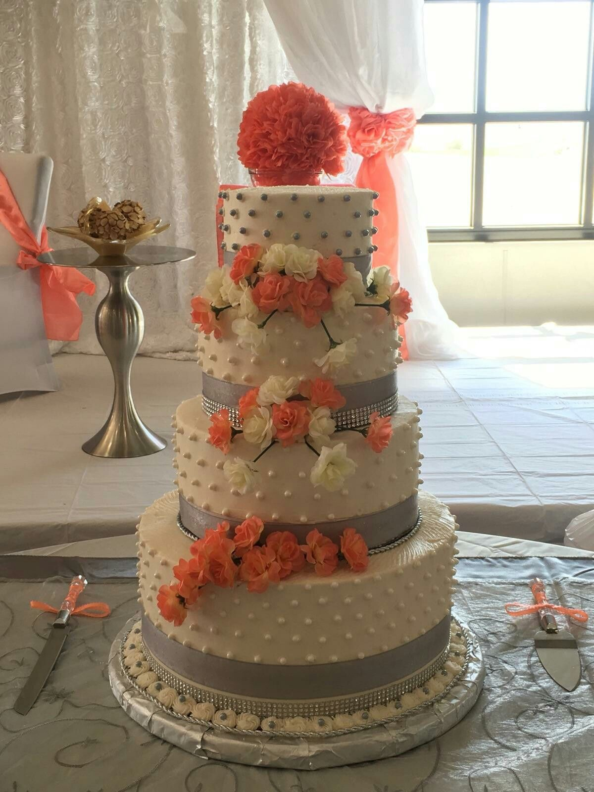 Coral And Gray Wedding Cakes