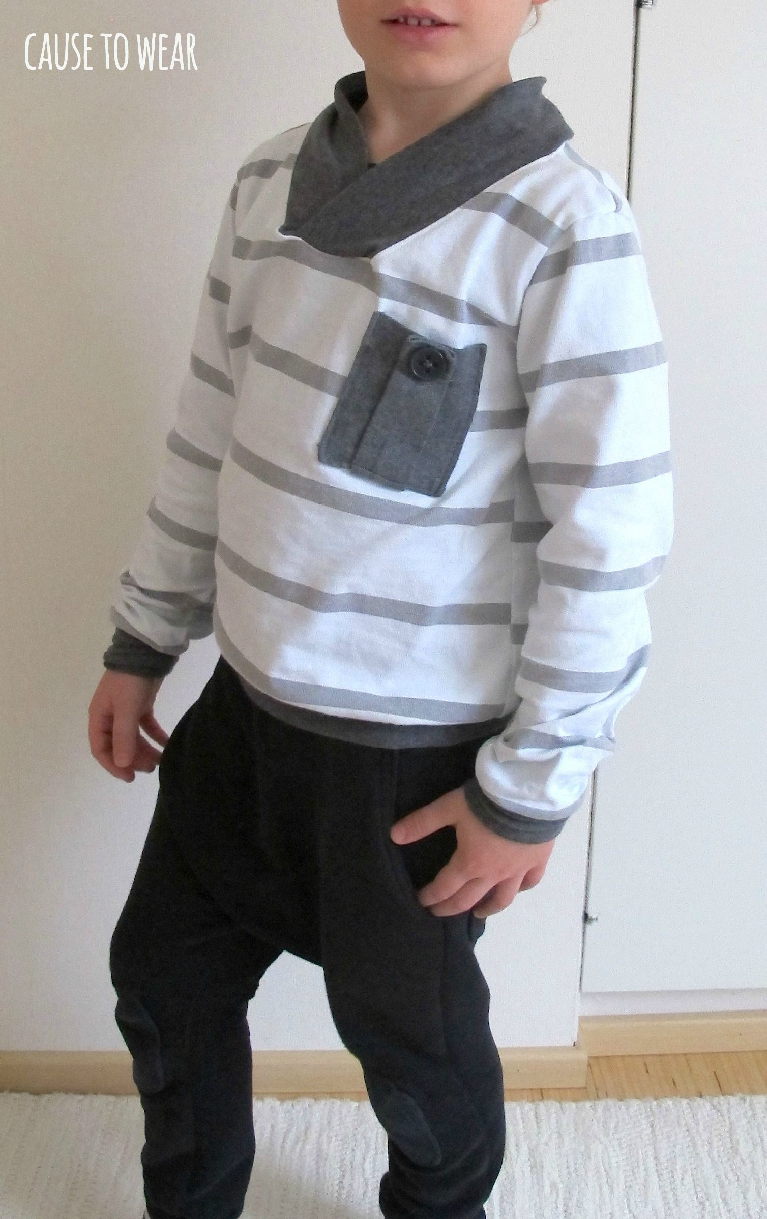 DIY shawl-collar sweater for a boy. Material upcycled old women's rugby shirt.