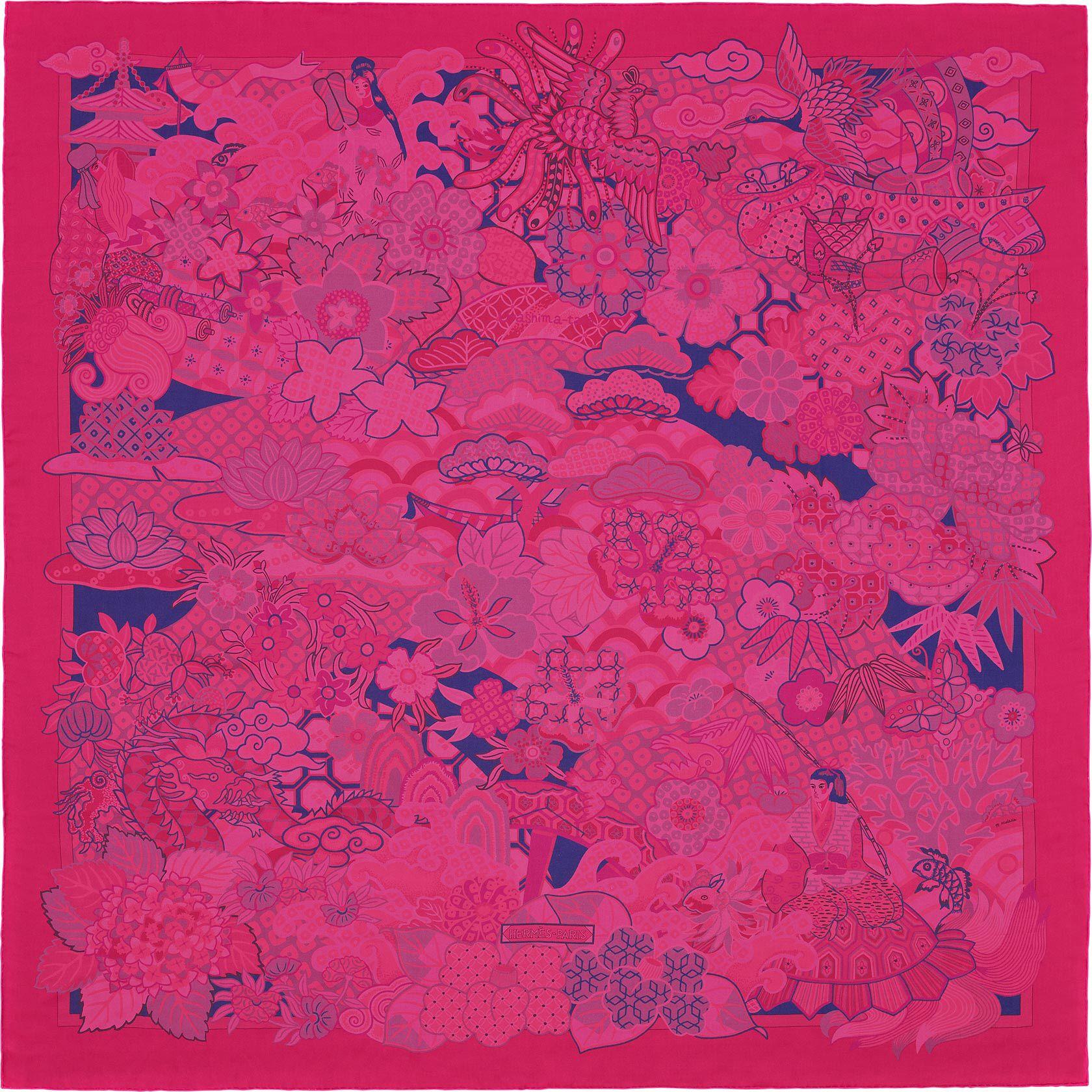 8102d5b8ca1b 2015 S S   Urashima Taro   Shawl in silk mousseline (140 x 140 cm)   Ref.    H342595S 04 Rose Vif Fuchsia Violet