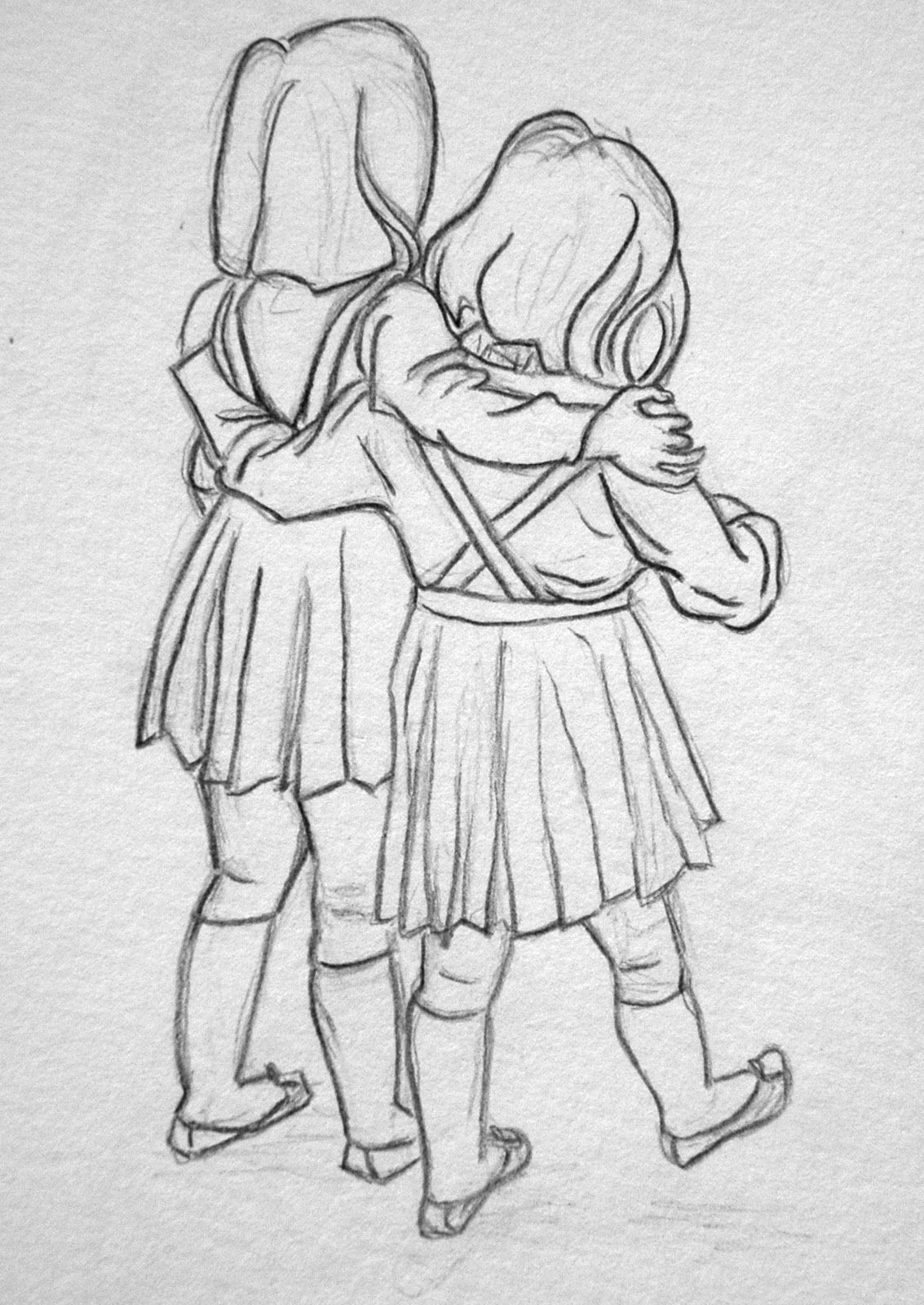 Sisters Pencil Sketch Sketches Drawings Drawings Of Friends