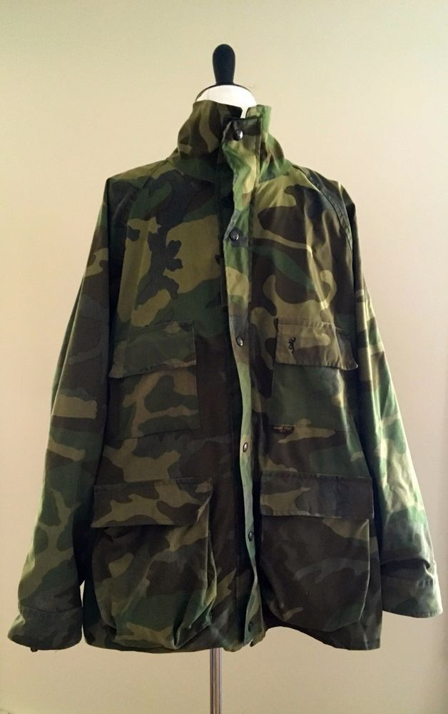 87eb0dc330119 VTG Browning Goretex Camouflage Camo Hunting Coat Waterproof Military Hood  XL #Browning #BasicJacket