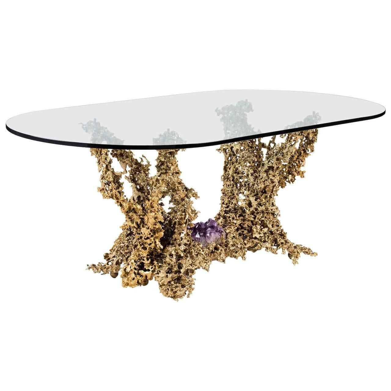 Oval Glass Top With Bronze Base Dining Table 1stdibs Com Dining Table Vintage Dining Room Table Dining Table Bases
