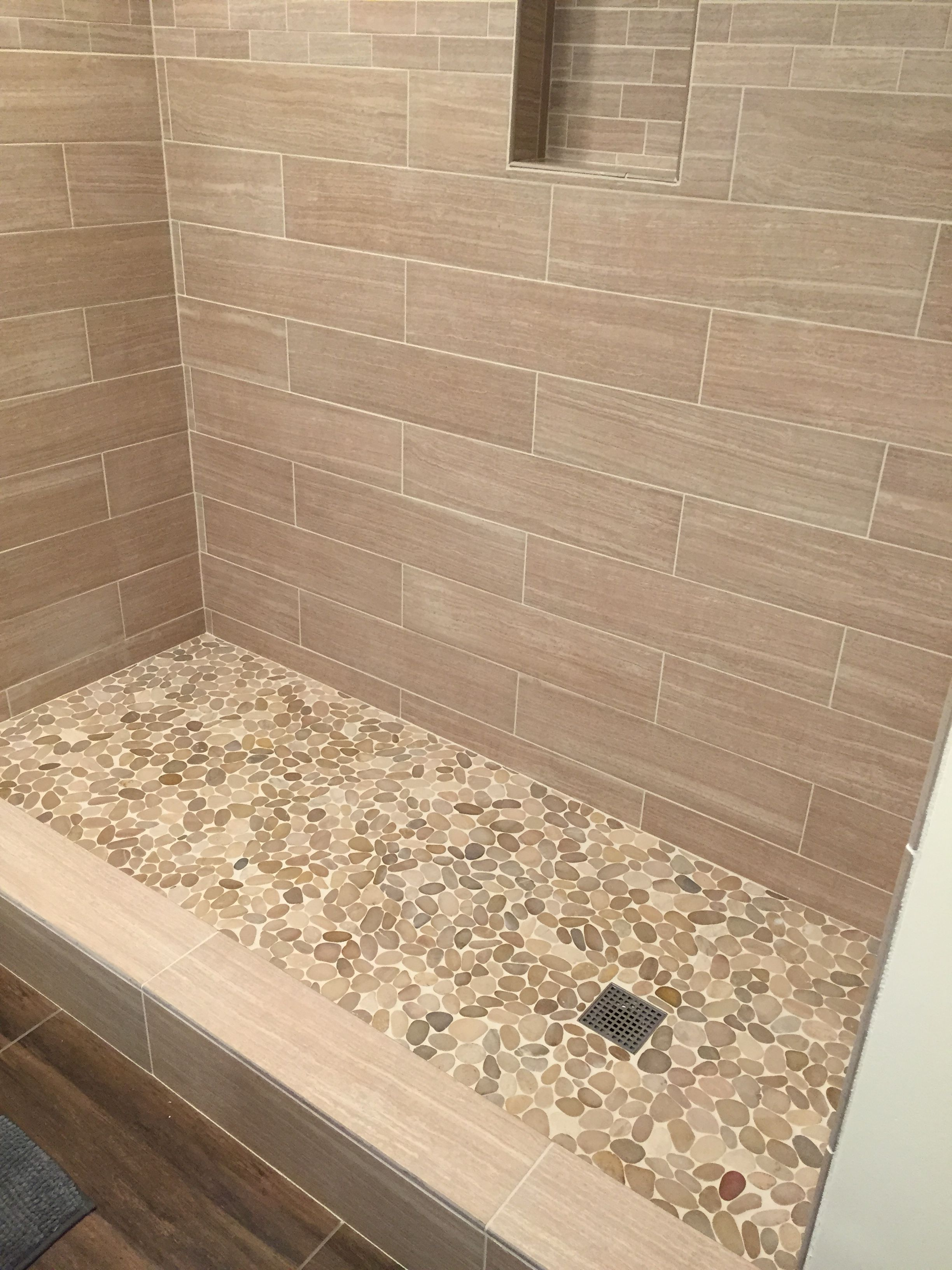 Sliced java tan pebble tile pebble tile shower pebble for Grey brown floor tiles