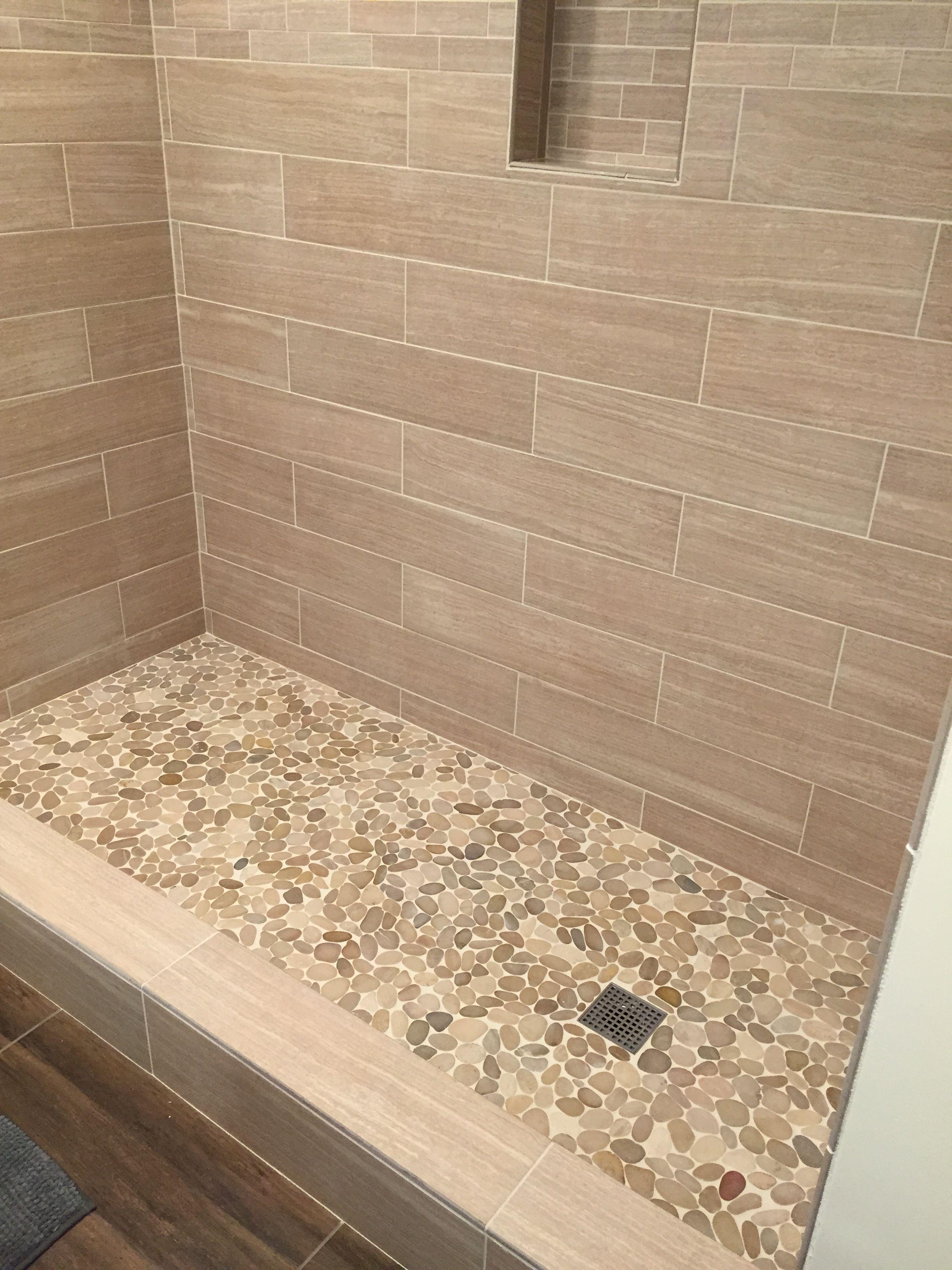 Sliced Java Tan Pebble Tile Bathroom Pebble Tile Shower Floor