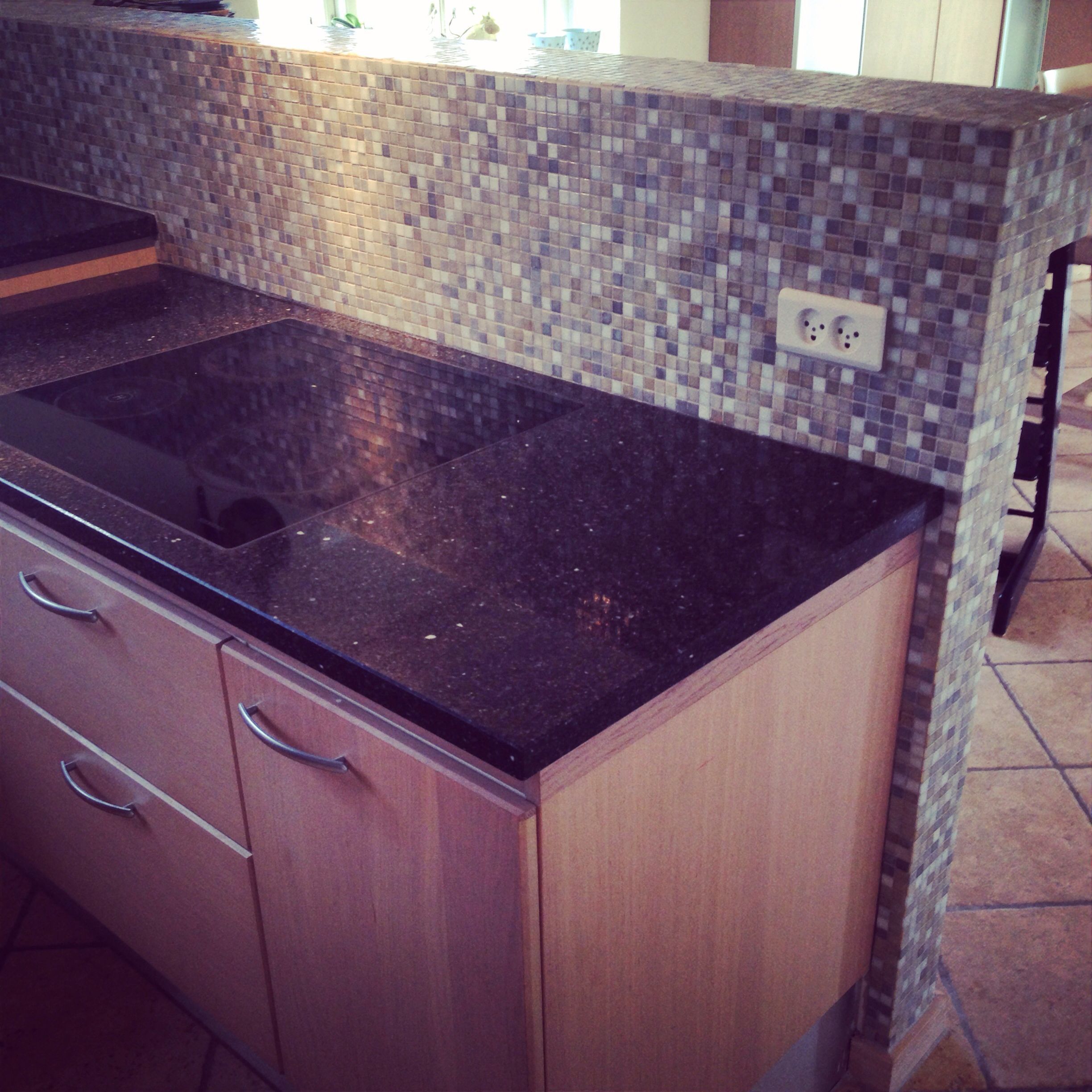 #Mosaik #tiles on our #kitchen wall. Love the colors