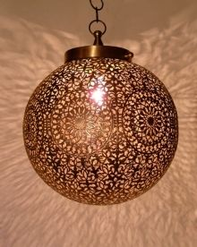 Moroccan Brass Ceiling Lamp, Pendant Light Round Shape With Its Outstanding  Chiselled Openwork Patterns.