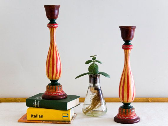 Swedish Wooden Candlestick Holders Folk Pair by microCosmico