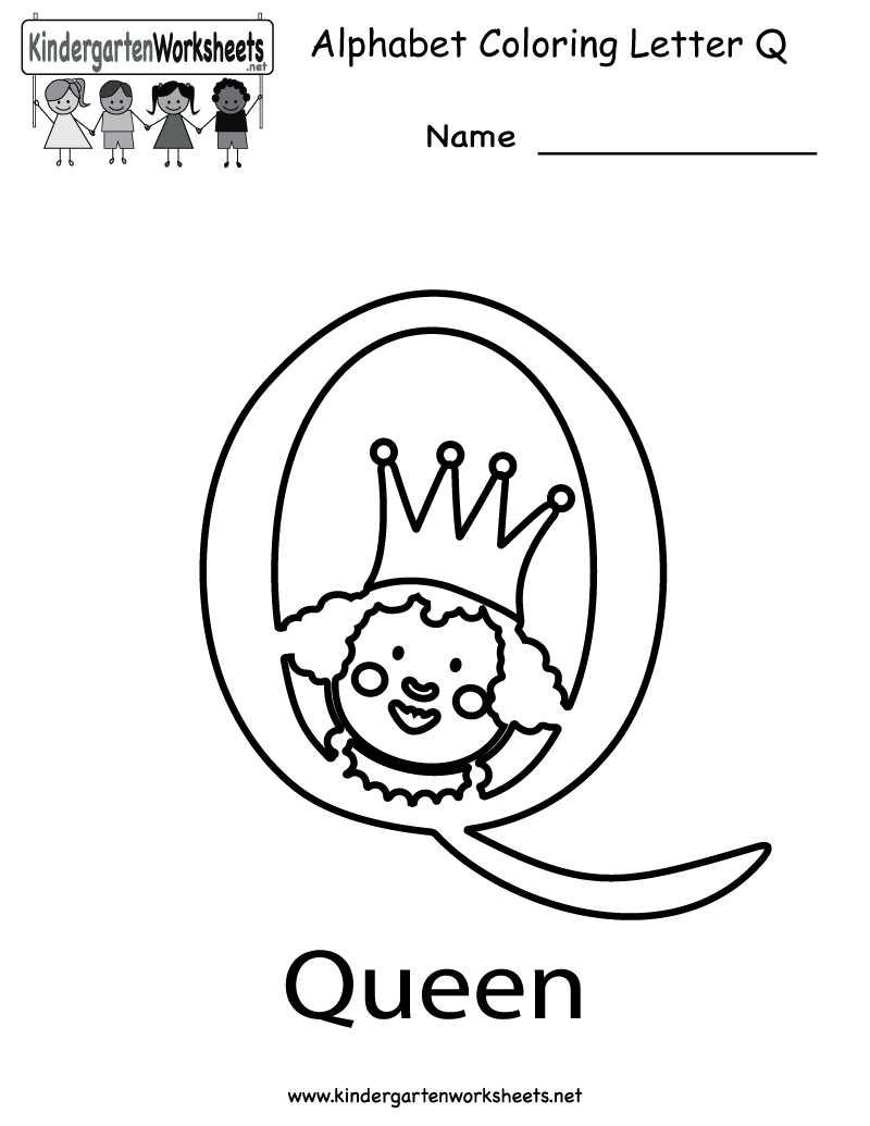 worksheet Letter Q Worksheet kindergarten letter q coloring worksheet printable alphabet printable
