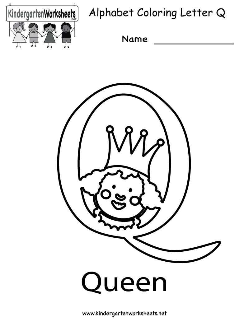 Kindergarten Letter Q Coloring Worksheet Printable Alphabet Coloring Pages Color Worksheets English Worksheets For Kids