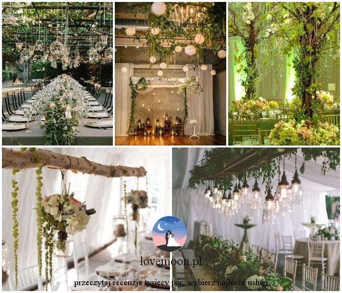 dekoracje sali sala ślub w październiku motyw leśny kolor przewodni zielony