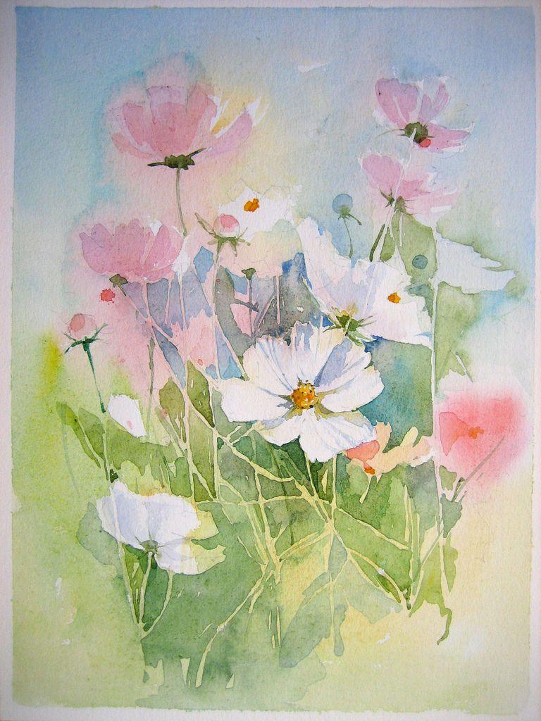 001 Blumen Aquarell Aquarell Blumen Und Blumen Malen