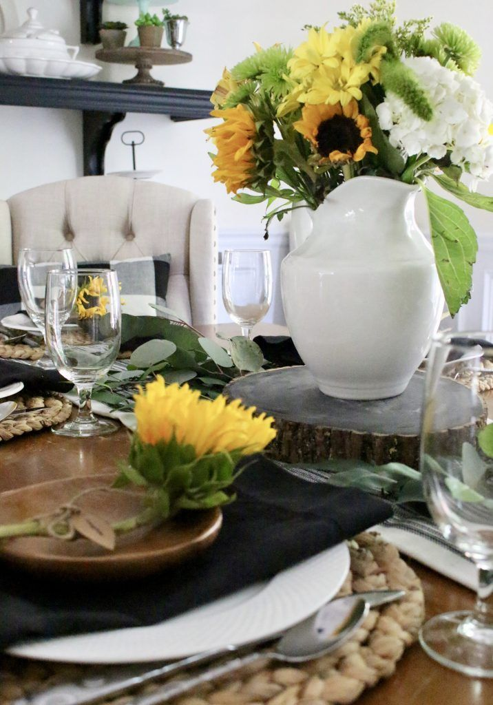 Summer Dining Room Tablescape Table Setting Sunflowers Do It Yourself DIY Projects Decorating Ideas Design Rustic Home Decor Decoration