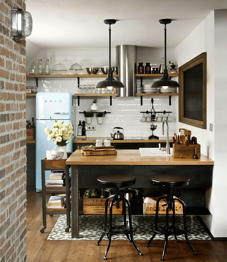 Modern Loft Kitchen With Vintage Appliances