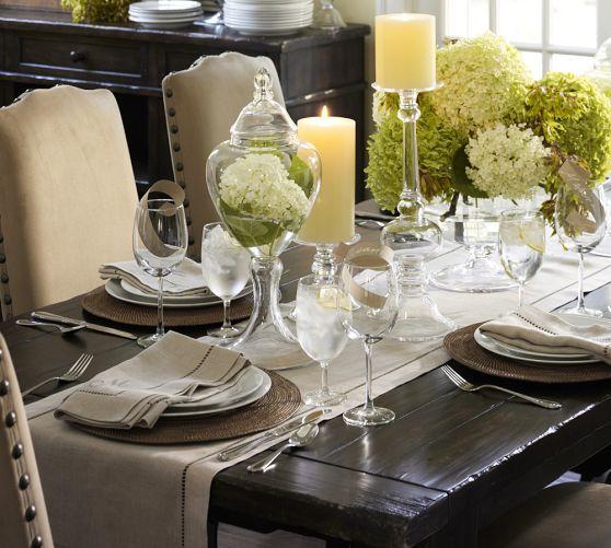Linen Hemstitch Table Runner Dining Room Table Decor Dining