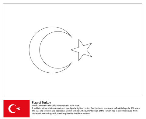 Flag Of Turkey Coloring Page Turkey Flag Turkey Coloring Pages Flag Coloring Pages