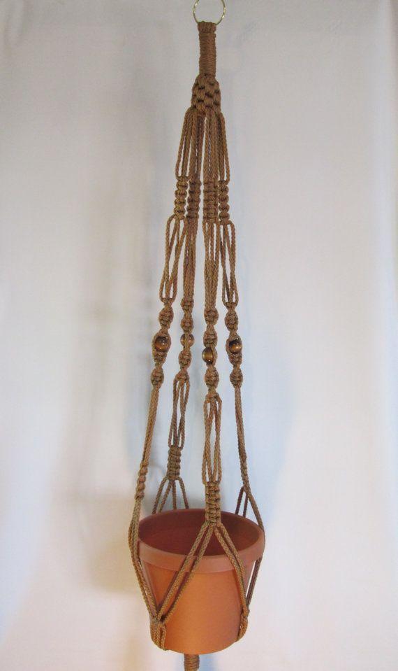Estilo Vintage MACRAME planta suspensión 44 pulgadas 6mm canela con abalorios