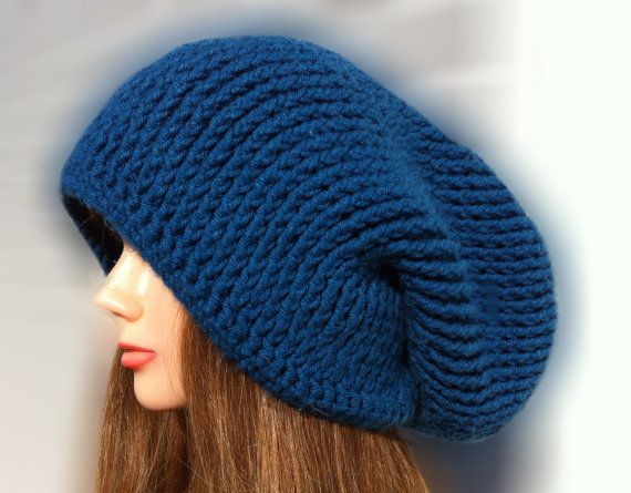 Glacial Hat  Crocheted Spiral Ribbed Slouchy by YaxumiKaroDesings,
