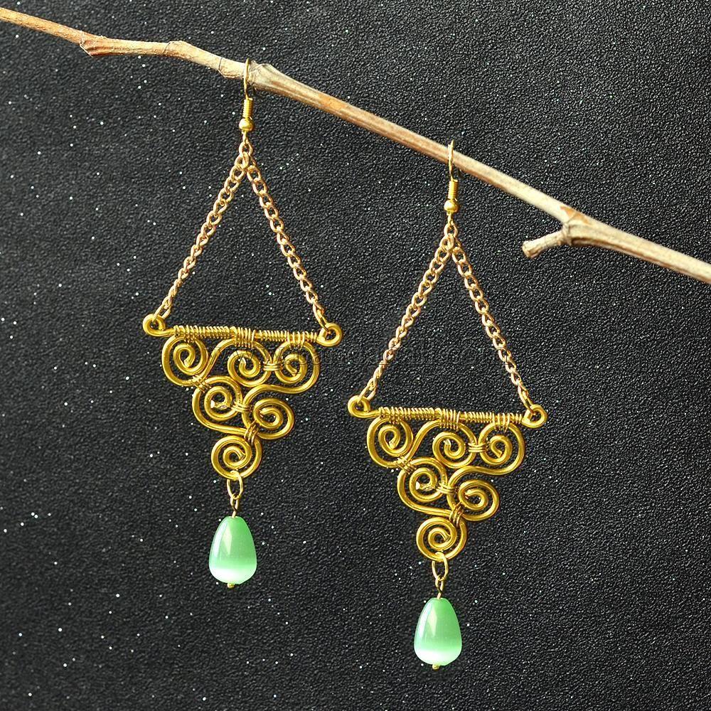 Wire Wrapped Earrings with Cat Eye Beads | Earrings | Pinterest ...