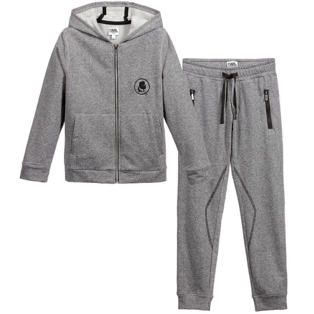 Boys Grey Hooded 'Rock Chic' Tracksuit, KARL LAGERFELD Kids, Boy